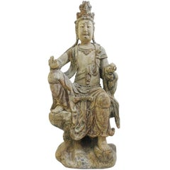 Large Carved Wooden Buddha