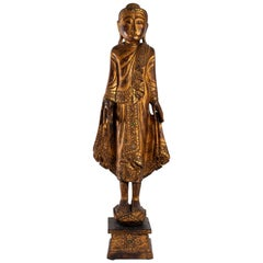 Large Carved Wooden Buddha, Gilded and Inlay of Color Glasses, Myanmar
