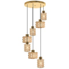 Large Cascade Light Fixture with Seven Pedant Lights by Helena Tynell, 1970s