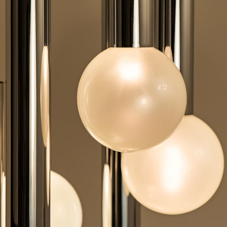 Large Cascade Light with Blown Opaline Glass Balls by Motoko Ishii for Staff For Sale 3