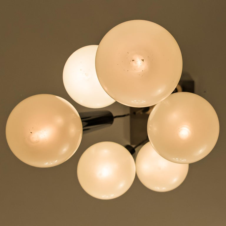 Large Cascade Light with Blown Opaline Glass Balls by Motoko Ishii for Staff For Sale 4
