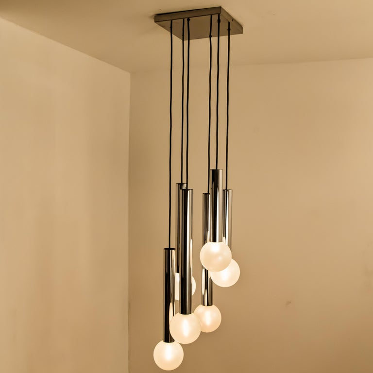Large Cascade Light with Blown Opaline Glass Balls by Motoko Ishii for Staff For Sale 5