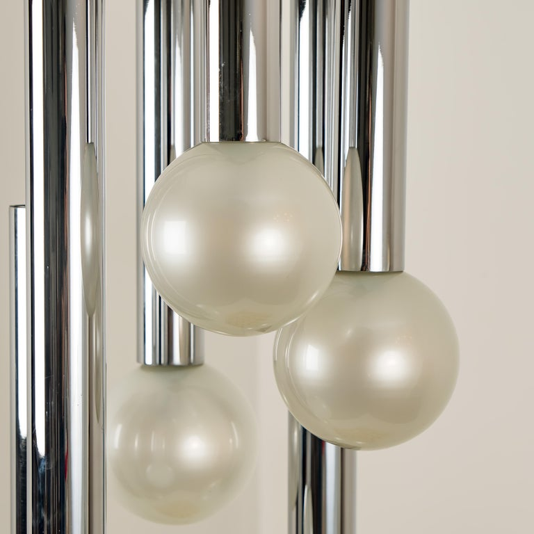 Exceptional ceiling lamp with six large opaline handblown glass balls by Motoko Ishii for Staff Lighting, Germany, 1970s. A high end piece of the 20th century. Beautiful craftsmanship.  Measures Height 55.1