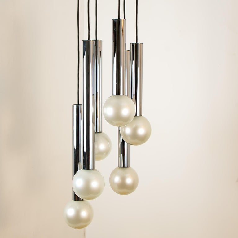 Mid-Century Modern Large Cascade Light with Blown Opaline Glass Balls by Motoko Ishii for Staff For Sale
