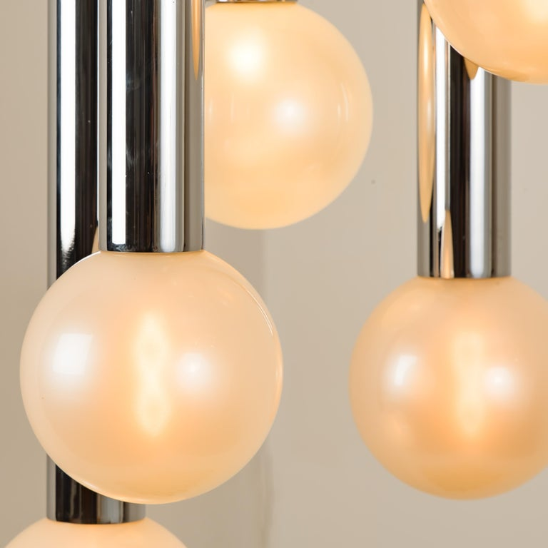 German Large Cascade Light with Blown Opaline Glass Balls by Motoko Ishii for Staff For Sale