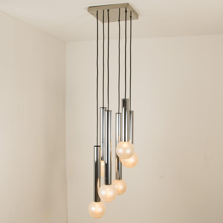 Large Cascade Light with Blown Opaline Glass Balls by Motoko Ishii for Staff In Good Condition For Sale In Rijssen, NL