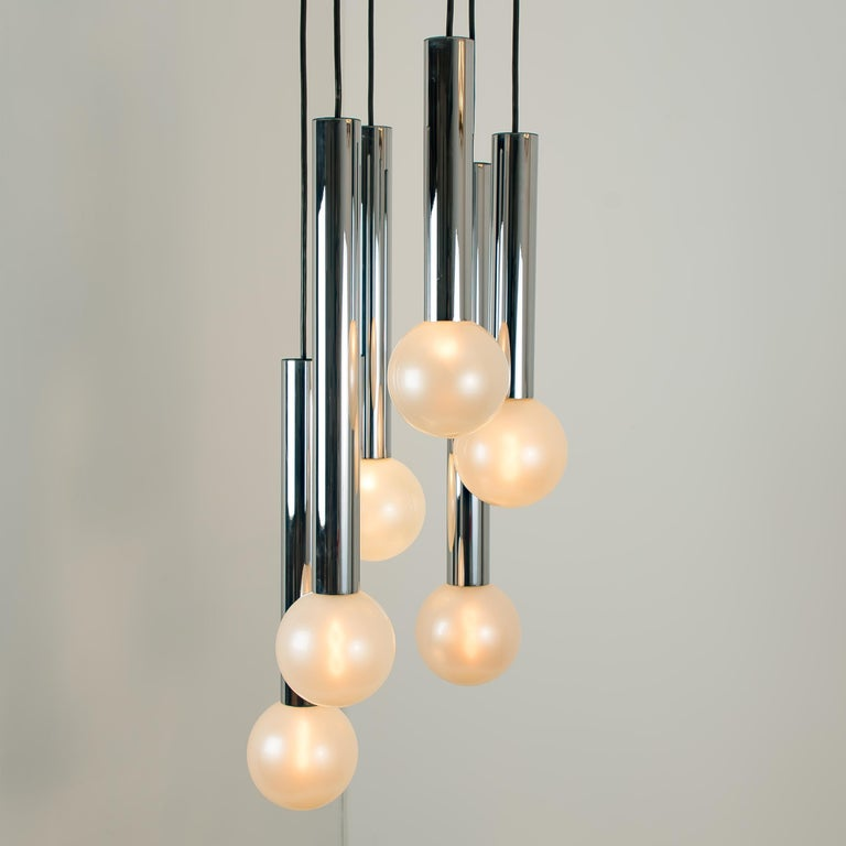20th Century Large Cascade Light with Blown Opaline Glass Balls by Motoko Ishii for Staff For Sale