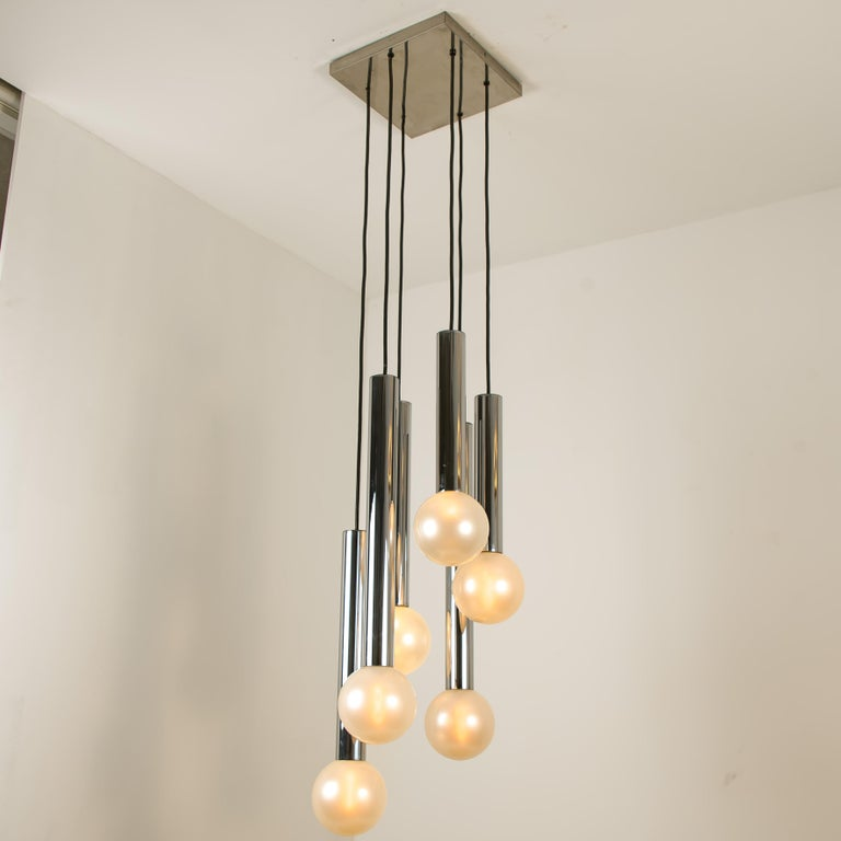 Large Cascade Light with Blown Opaline Glass Balls by Motoko Ishii for Staff For Sale 1