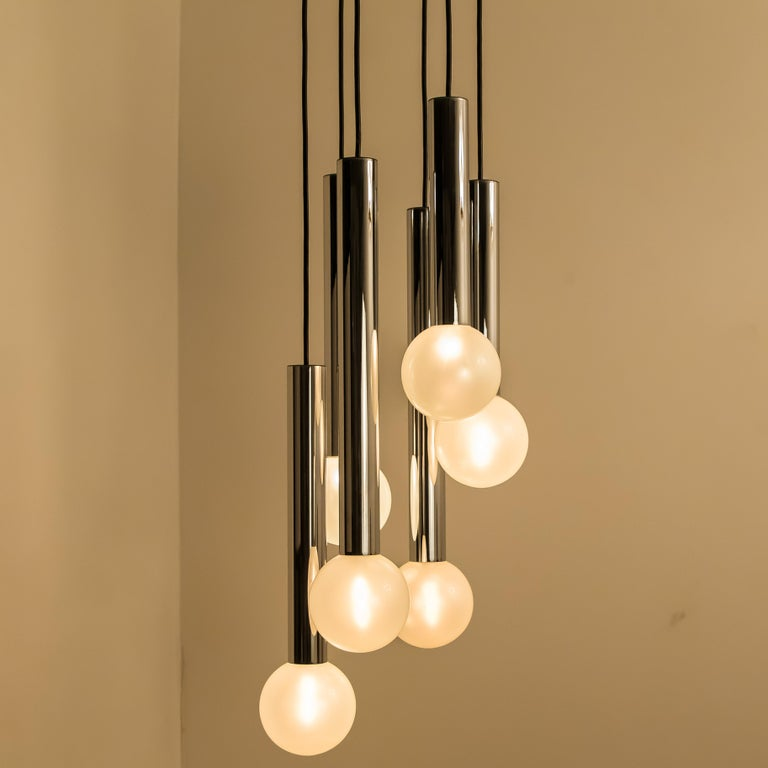 Large Cascade Light with Blown Opaline Glass Balls by Motoko Ishii for Staff For Sale 2