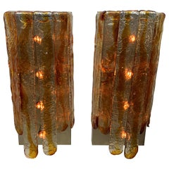 "Large ""Cascade"" Mazzega Sconces by Carlo Nason for Mazzega in Murano Glass, 1970"
