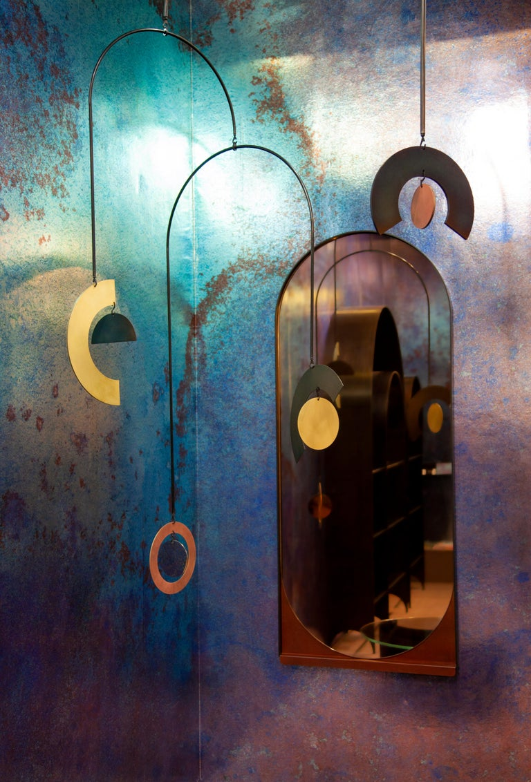 Contemporary Large Cascade Mobile in Blackened Steel, Heat Tempered Steel, and Polished Steel For Sale