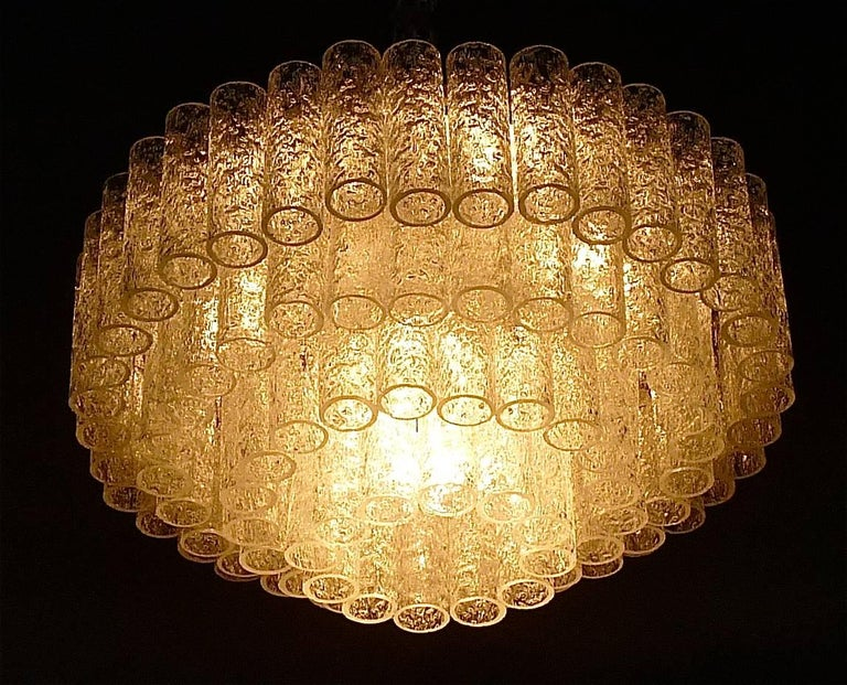Large Cascading Doria Flush Mount Chandelier Four-Tier Ice Glass Tubes, 1960s For Sale 2