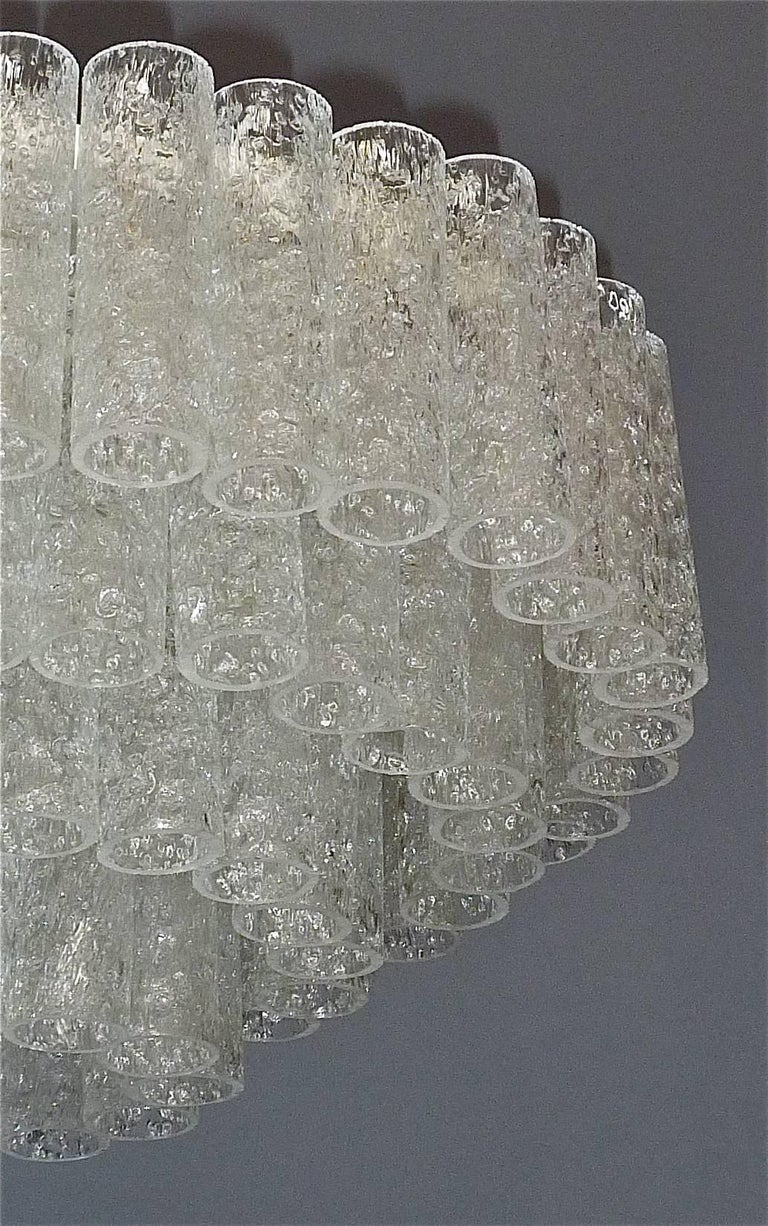 Mid-Century Modern Large Cascading Doria Flush Mount Chandelier Four-Tier Ice Glass Tubes, 1960s For Sale