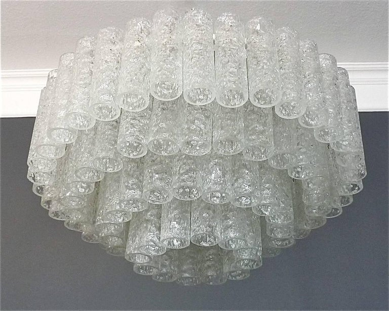 German Large Cascading Doria Flush Mount Chandelier Four-Tier Ice Glass Tubes, 1960s For Sale