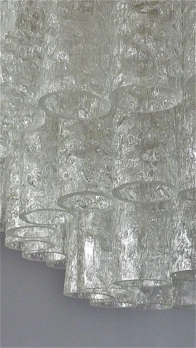 Enameled Large Cascading Doria Flush Mount Chandelier Four-Tier Ice Glass Tubes, 1960s For Sale