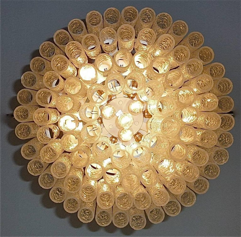 Mid-20th Century Large Cascading Doria Flush Mount Chandelier Four-Tier Ice Glass Tubes, 1960s For Sale