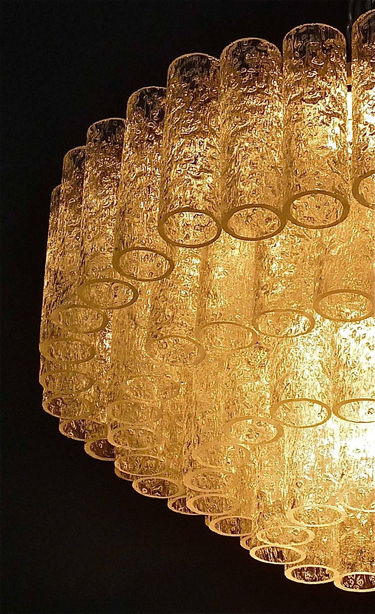 Metal Large Cascading Doria Flush Mount Chandelier Four-Tier Ice Glass Tubes, 1960s For Sale