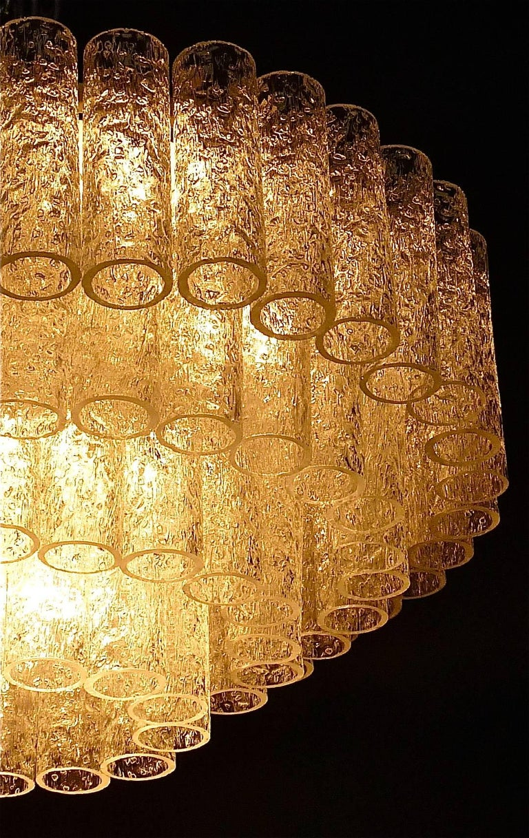 Large Cascading Doria Flush Mount Chandelier Four-Tier Ice Glass Tubes, 1960s For Sale 1