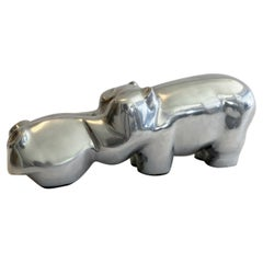 Large Cast Aluminum Hippo Sculpture by David Parkin, 1970s