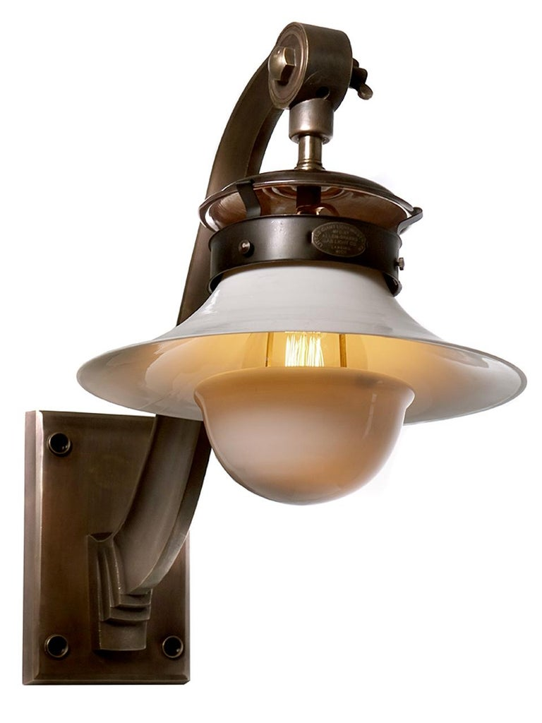 Industrial Large Cast Brass Arm and Milk Glass Wall Light For Sale
