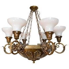 Large Cast Brass Decorative Chandelier with Lions