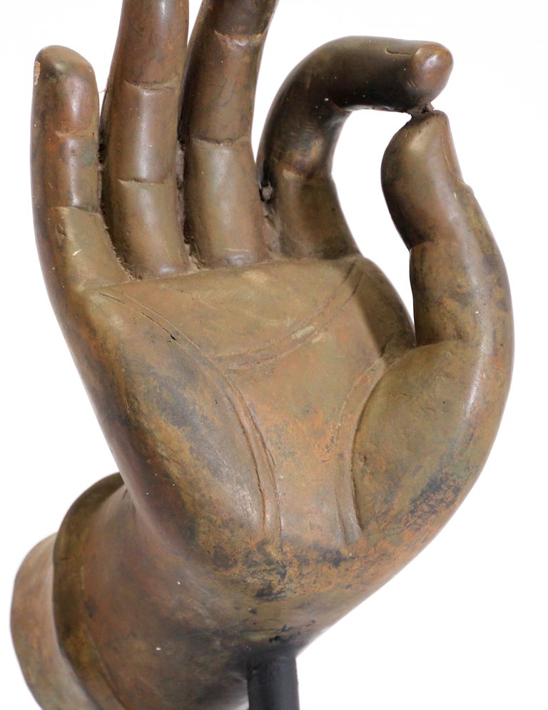 Large Cast Bronze Buddha Hand Sculpture on Stand For Sale 5