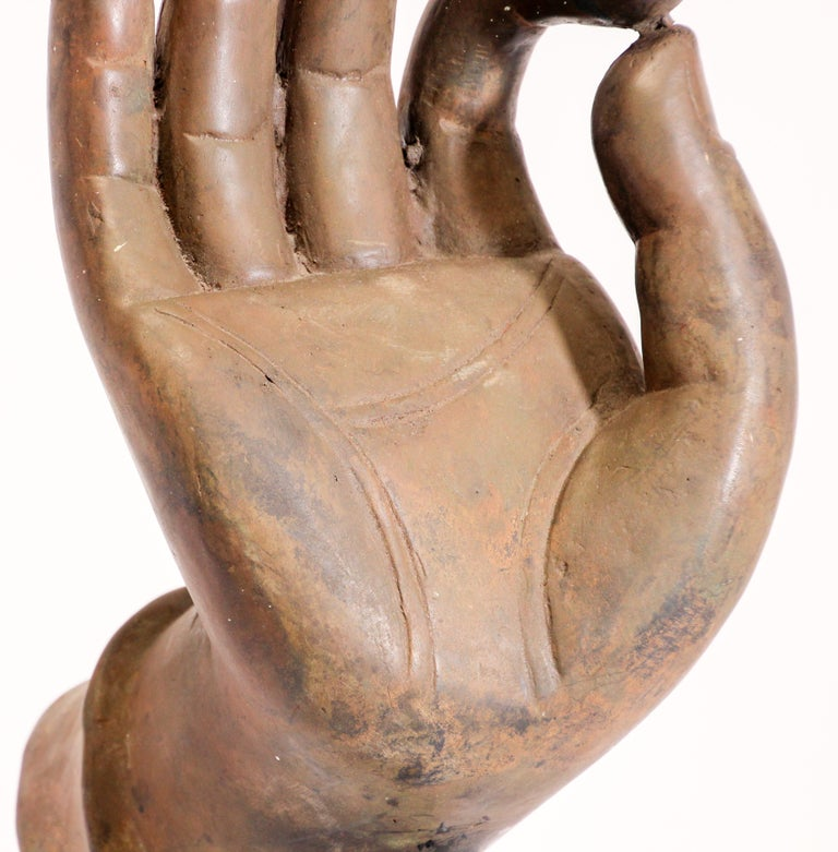 Large Cast Bronze Buddha Hand Sculpture on Stand For Sale 6