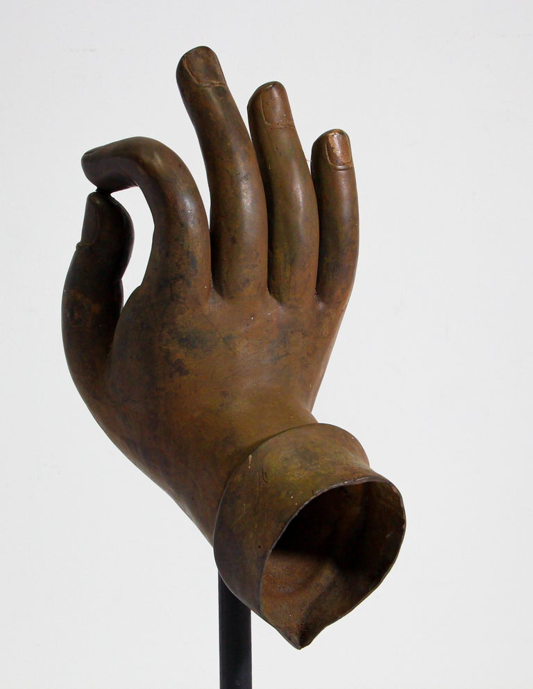South Asian Large Cast Bronze Buddha Hand Sculpture on Stand For Sale