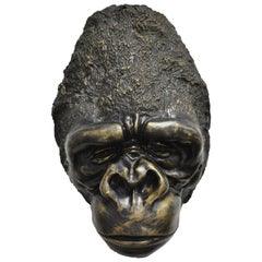 Large Cast Bronze Gorilla Head Wall Sculpture Statue Wildlife Collector 'A'