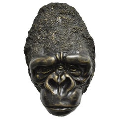 Large Cast Bronze Gorilla Head Wall Sculpture Statue Wildlife Collector B