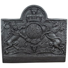 Large Cast Iron Fire Back, Royal Crest, 17th Century Revival Made 20th Century