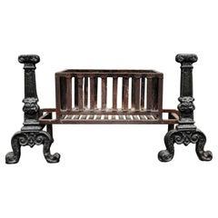 Large Cast Iron Rectangular Firebasket with Vertical Bars