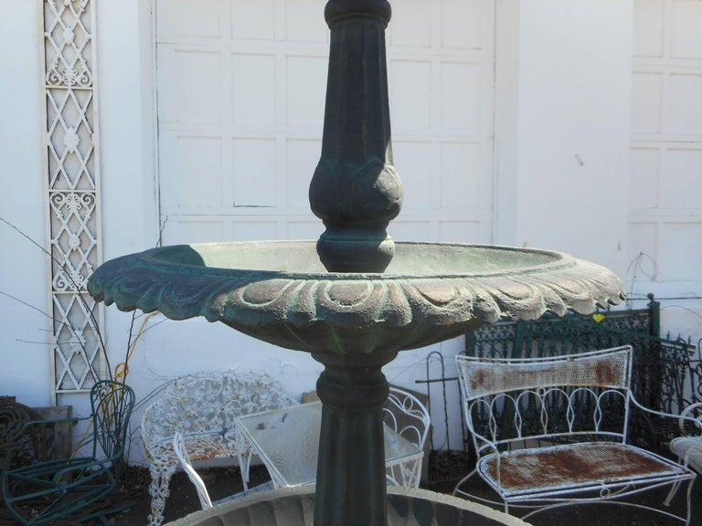 Large Cast Iron Three-Tier Fountain with an Egret Base For Sale 3