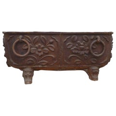 Large Cast Iron Tub with Floral Motif
