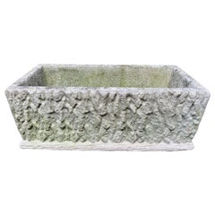 Large Cast Stone Faux Bois Planter