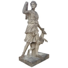 Large Cast Stone Statue of Diana the Huntress with Stag