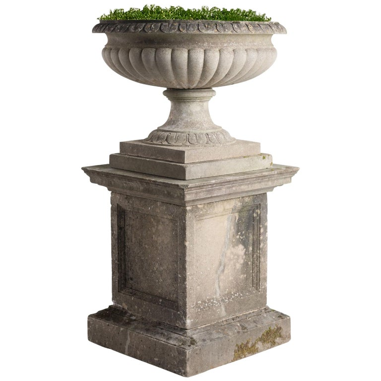Large Cast Stone Urn with Pedestal, circa 1950 For Sale