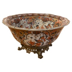 Large Castilian Porcelain Bowl on Brass Stand, 20th Century