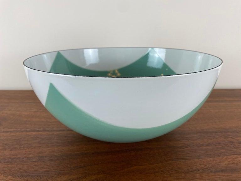 Mid-Century Modern Large Catherineholm Flag Bowl, Seafoam Green Enamel For Sale