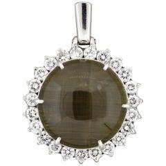 Large Cat's Eye Quartz Diamond Halo Platinum Pendant