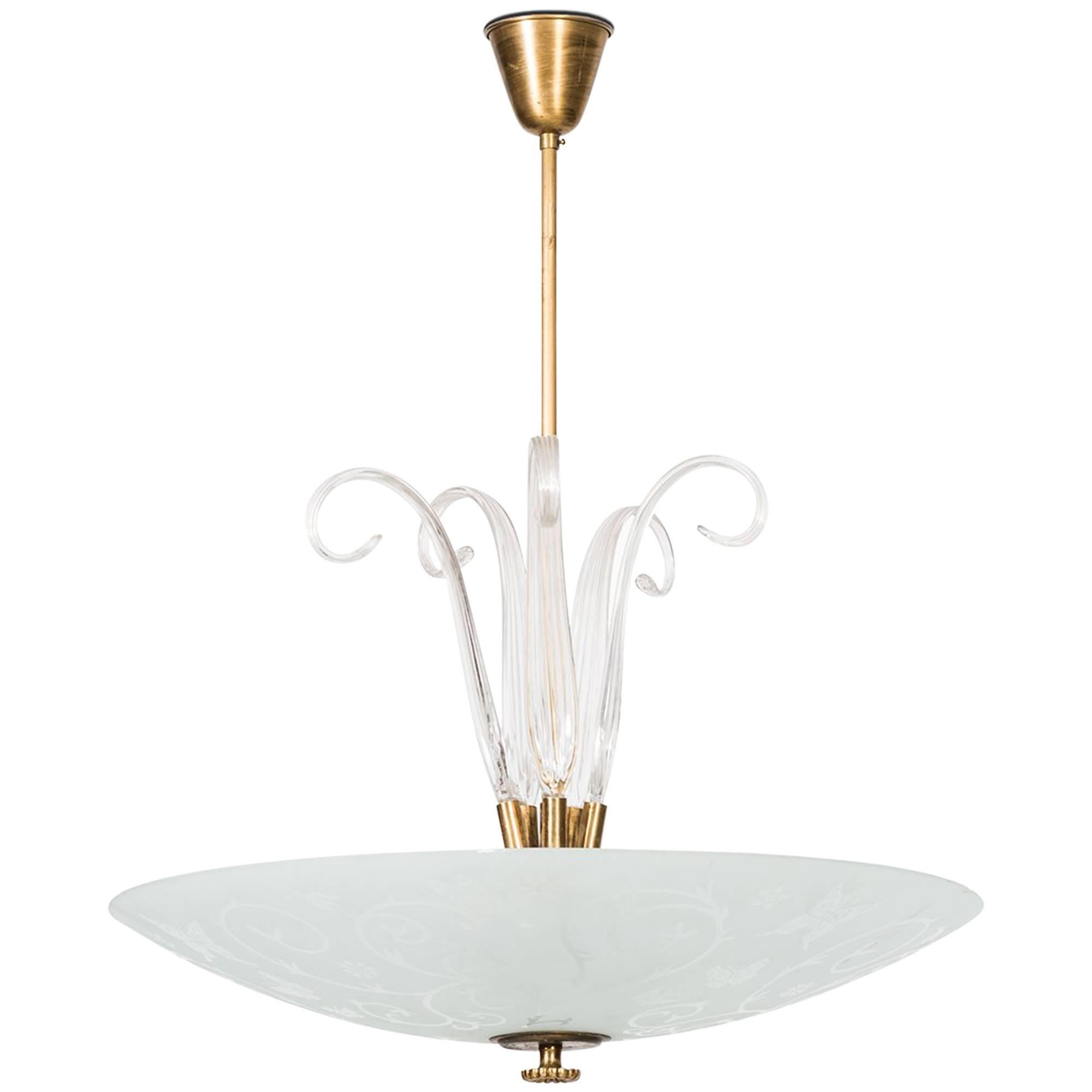 Large Ceiling Lamp Produced by Orrefors in Sweden