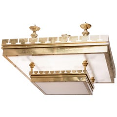 Large Ceiling Light in Gilt Brass and Lucite, 1970s
