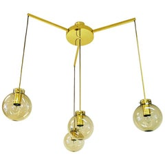 Large Ceiling Lamp of Brass and Glass by Høvik Verk, Norway, 1970s