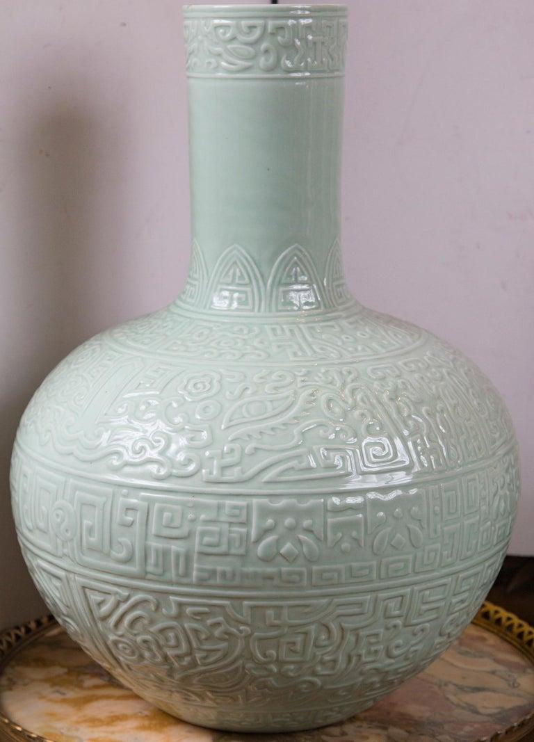 Incised decoration bulbous bottom light celadon color block blue mark on underside