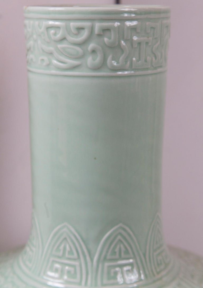 Large Celadon Bottle Neck Chinese Porcelain Vase In Good Condition For Sale In Woodbury, CT