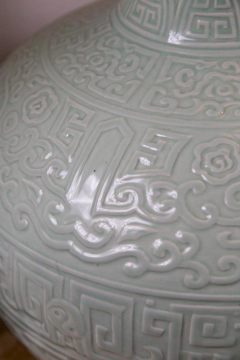 20th Century Large Celadon Bottle Neck Chinese Porcelain Vase For Sale