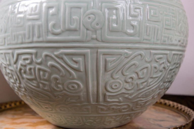 Large Celadon Bottle Neck Chinese Porcelain Vase For Sale 2
