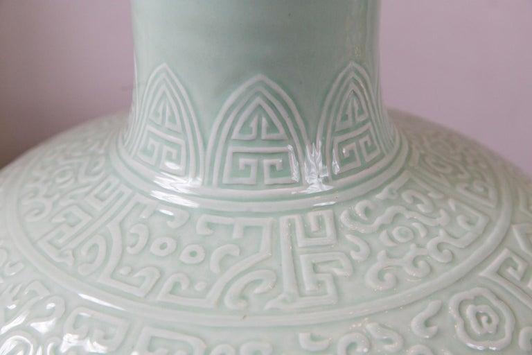 Large Celadon Bottle Neck Chinese Porcelain Vase For Sale 4