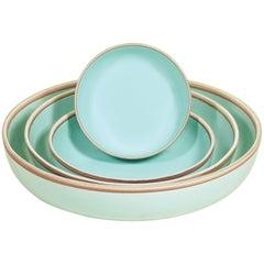 Large Celadon Glazed Porcelain Hermit Bowl with Rustic Rim