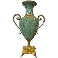 Large Celadon Porcelain Vase Urn Vessel with Brass Handles and Mounts